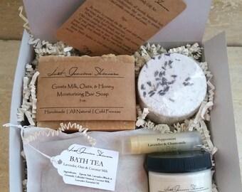 Bath & Body Gift Set   Bath Salts/Bath Tea   Bath Bomb   Body Butter   Bar Soap   Lip Balm   Perfect Gift for any Occasion