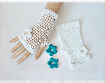 Wedding gloves, White lace fingerless gloves, Crochet gloves, Crochet Lace Gloves, Fingerless gloves, Cotton Gloves, Weddings