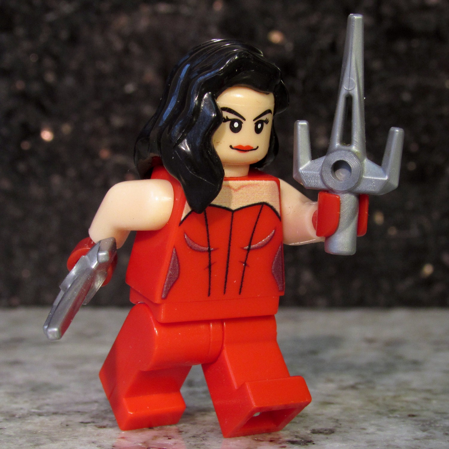 Custom ELEKTRA Minifigure with Lego size Sai swords Marvel