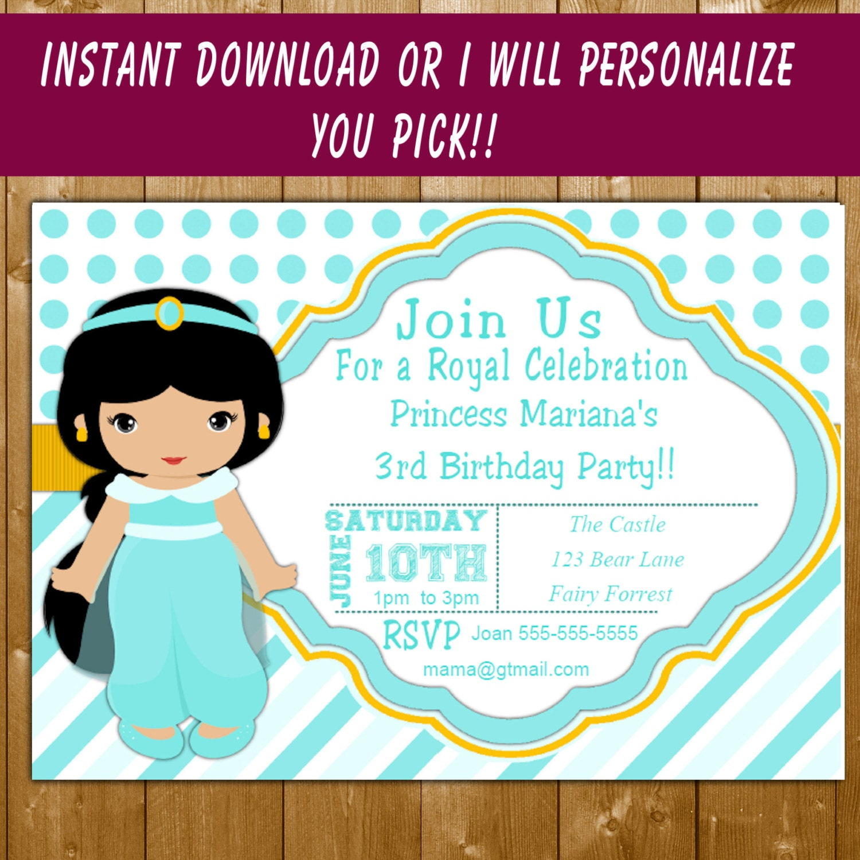 Jasmine Invitation | Princess Jasmine Birthday Invitation | Birthday ...