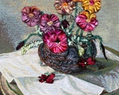 Pansies paintings for framing - Classic Art for frame - Wall hanging tapestries for framing - Wall textiles for frame - Wall Art for framing