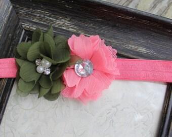 Coral baby headband, boho baby headband, pink and green, olive baby headband, hawaiian hair bow, coral pink hair bow, pink hair band, green