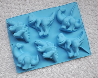 6-cavities Dinosaur mold Ice Mold Silicone Cake Mold Handmade Chocolate Mould Ice tray cube pudding mould handmade soap mold Baking tools