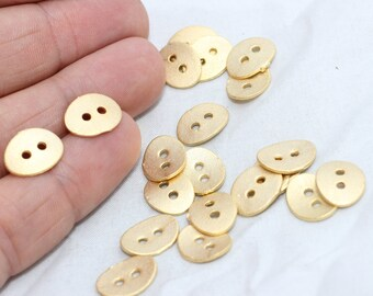 5 Pcs Gold Plated Buttons, Two holes buttons , Bracelet Button, Connector, Rustic Button, Connector button link , 10x12x1mm , MTE22
