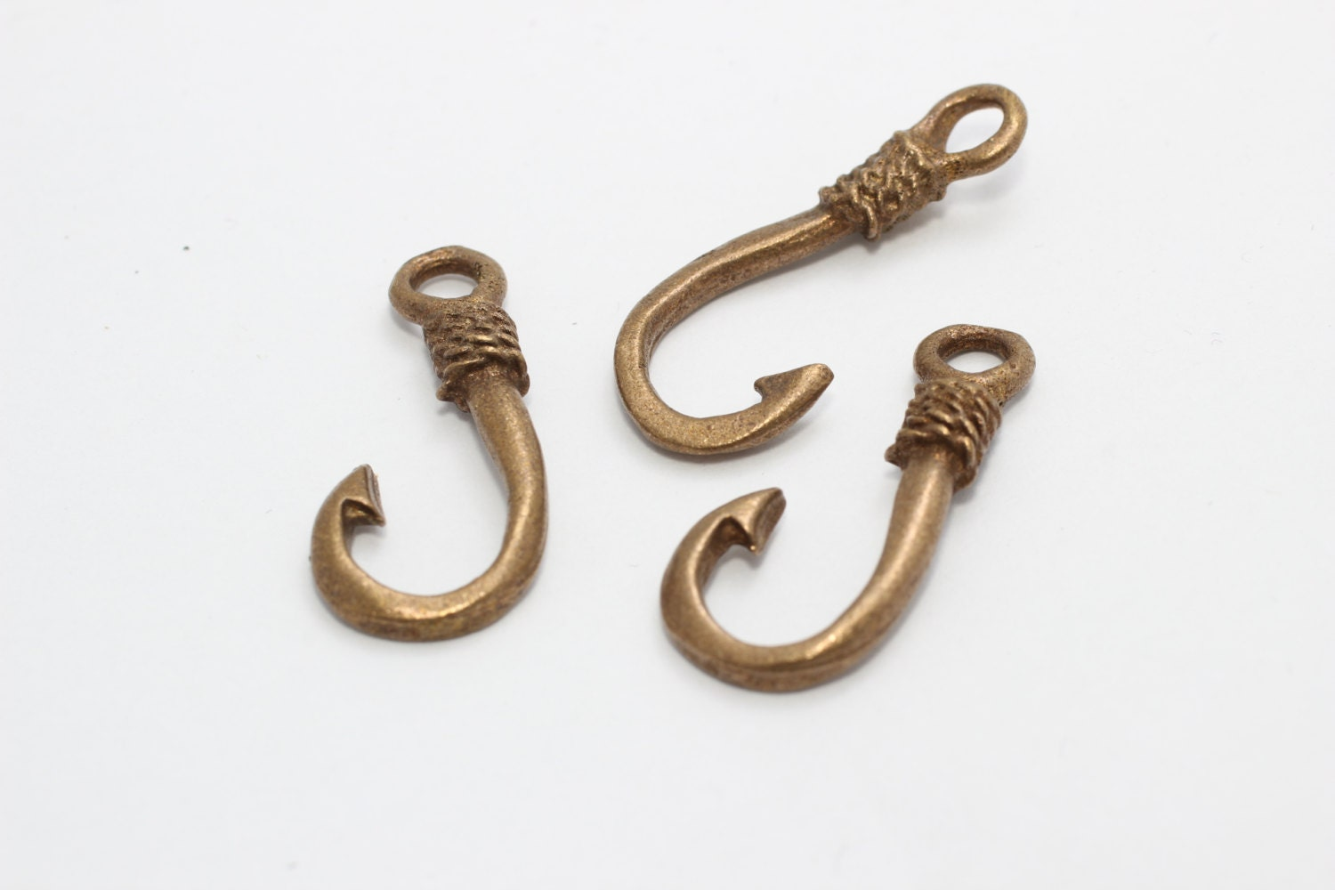 4 pcs antique bronze fish hook charms 125x28mm bracelet for Fish hook charm