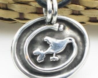 Southwest Mimbres Inspired Fine Silver Pendant - Fine Silver Tribal Bird Pendant - Mimbres Inspired Native American Bird Pendant