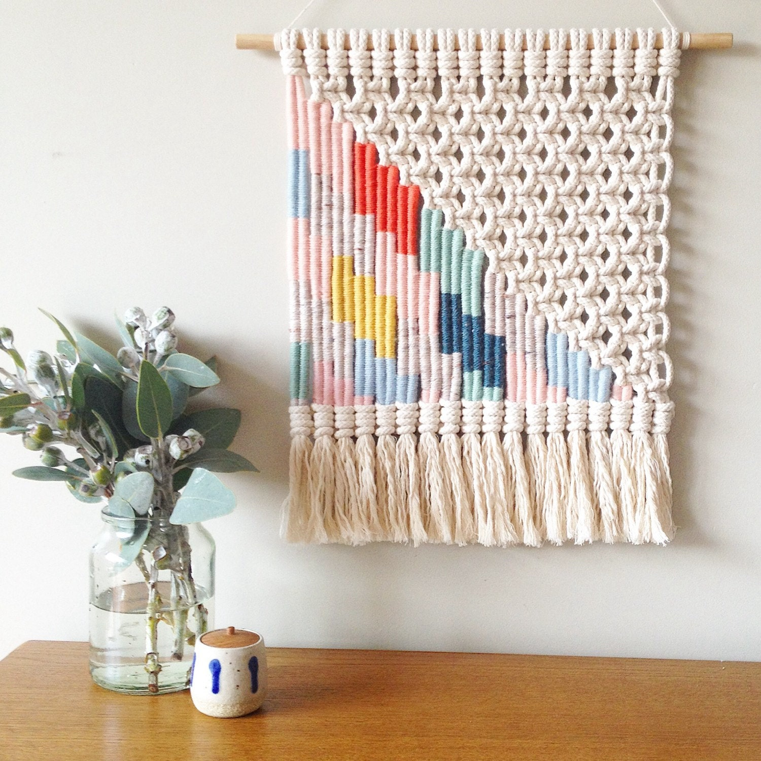 Woven Macrame Wall Hanging Multi Coloured Lightning