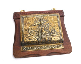 1930s Vintage Brass and Wood Letter Rack Wall Pocket Tall Ship Scene