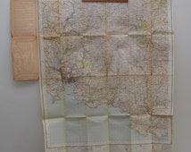 Plymouth map, vintage Ordnance Survey map, 1940s South West England, Devon, Sheet 187