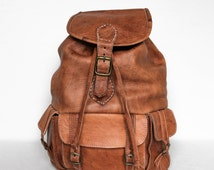 "Leather Backpack, Retro Style, 3 front pockets, back Zip compartment, Festival Bag, MEDIUM Size, 15"" Laptop"