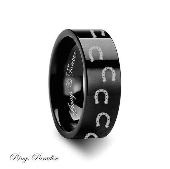 Wedding Bands Matching Animal Horse Shoe Ring Engraved Flat