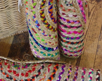 Oval Braided Plaited Jute Recycled Fabric Rag Rug Mat 60 x 90 cm Boho Hippie Traditional Zig Zag Stitching Multi Colour