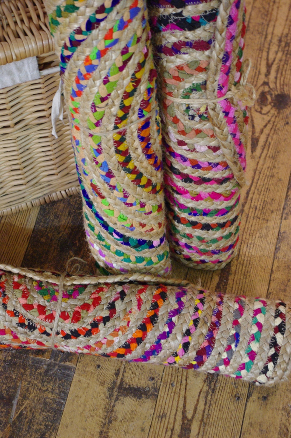 Oval Braided Plaited Jute Recycled Fabric Rag Rug Mat 60 X 90