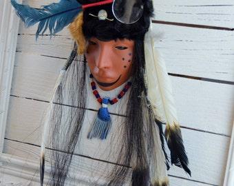 Native American Pottery Mask Blackfoot Wall Hanging Mask