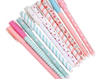 10 Color Kawaii Pens; Cute Pens, Korean Colored Gel Ink Pens