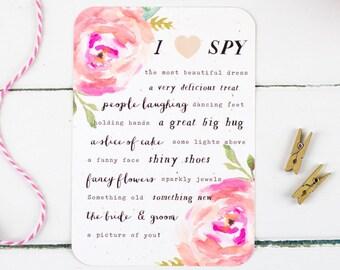 Rustic Pink Floral Wedding I Spy Game - Summer Bloom