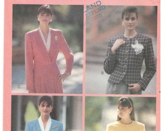 Butterick 4291 Size 6, 8, 10. Women's blazer / jacket with long sleeves.  No collar jacket with round / v-neckline, single / double breasted