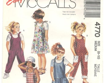 McCall's 4770 Sizes 8, 10 Sleeveless jumpsuit, romper, jumper or sundress.  Sewing pattern for dropped waist sundress, jumper or jumpsuit