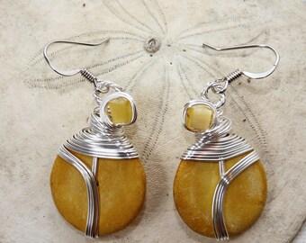 Yellow Earrings, Wire Wrap Earrings, Yellow Jewelry, Yellow Drop Earrings, Summer Colors, Pastel Jewelry, Pastel Earrings, Wire Earrings