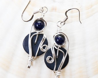 Navy Dangle Earrings, Navy Blue Earrings, Dark Blue Earrings, Dark Blue Jewelry, Funky Earrings, Boho Jewelry, Bohemian Earrings