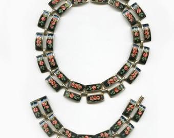 Vintage enameled brass link necklace and bracelet parure. (nlch154)