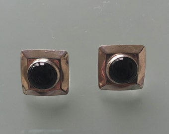 Vintage Black Onyx Square Earrings with Sterling Silver