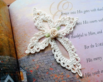 Small crochet cross, ecru, lace, ecru flower
