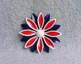 Daisy Brooch Enamel Flower Pin Red White And Blue Floral Mod Mid Century Raised Design 1960's Modernist