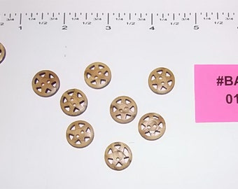 Carved wood buttons - Cart Wheel - 9 pcs - #BAS-013