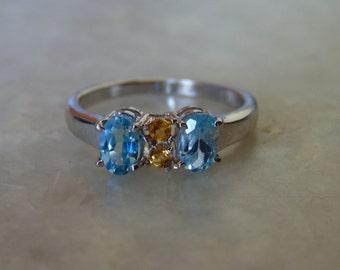 BLUE TOPAZ ring in 925 sterling silver