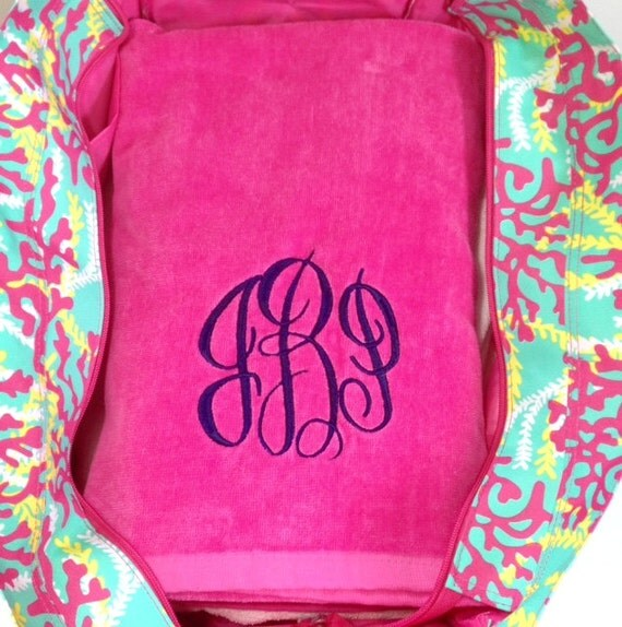 Monogrammed Beach Towel And Bag Set: Monogrammed Beach Bag And Beach Towel Set By Highway12Designs