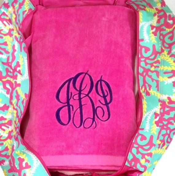 Monogrammed Beach Bag And Beach Towel Set By Highway12Designs