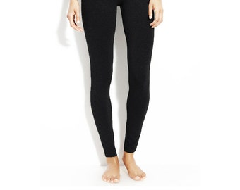 High rise black leggings made in USA one size fits 0 ~ 8 (super stretchy, not sheer, high quality fabric)