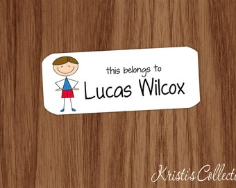 This belongs to Labels Stickers - Boys Custom Personalized Back to School Gift - Stick Figure School Stickers - This book belongs to