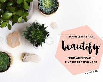 Styled Stock Photography | Succulents and Crystals on White Desktop | Product Mockup | Digital Image