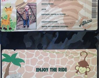 Personalized Safari Themed Die Cut Ticket Invitation 4x9