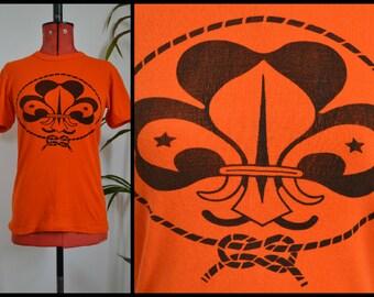 Vintage Retro Girl Guide Girl Scout Orange 70's T shirt Size Small/Medium