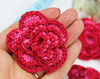 Crochet Roses 4pk Appliques Red and Pink Rose Crochet Flowers DIY Crafts Hair Flower Jewellery Fabric Supplies Accessores Pack of Four
