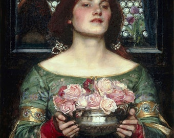 "John William Waterhouse ""Gather Ye Rosebuds While Ye May"" Roman Woman Holding Vase of Flowers 1908 Reproduction Digital Print"