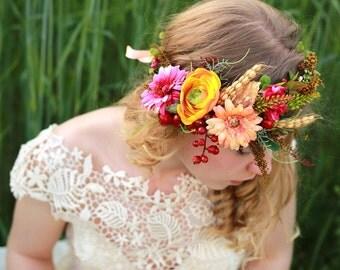 flower crown head wreath romantic wedding crown bridal headpiece woodland headwreath hair flowers boho hair accessories
