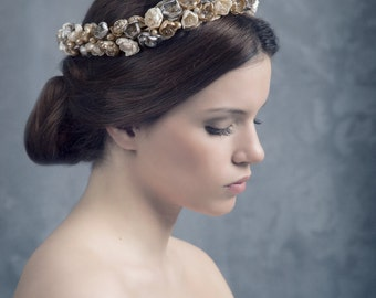 Bridal headpiece. Floral wedding crown. Couture bridal headpiece. Wedding headpiece. Floral bridal crown. MOD535 bridal Crown