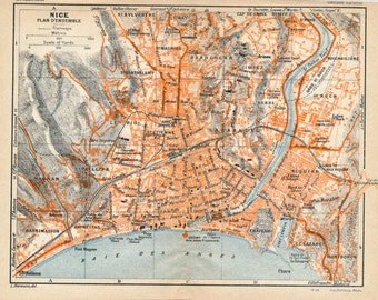 1926 Nice France Antique Map