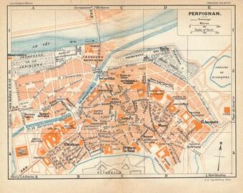 1926 Perpignan France Antique Map