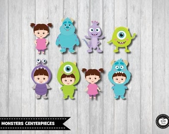 8x MONSTERS INC CENTERPIECES. Monsters Birthday. Monster Party. Party Decorations. Wall Decor. Cake Toppers. Cupcake Toppers. Kids Wall Art