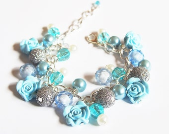 Blue Rose Bracelet ( flower bracelet bridesmaid bracelet blue bracelet rose bracelet beaded bracelet charm bracelet rose jewelry )
