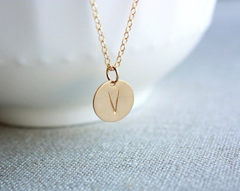 Dainty Hand Stamped Initial Gold Necklace - Gold Filled Necklace