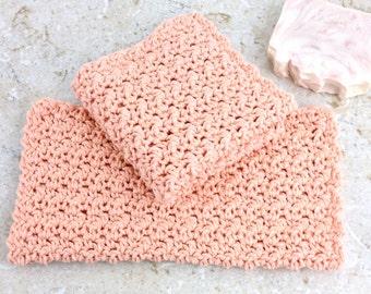 Set of Two Crochet Washcloths Peach Blush Cotton Large Washcloth Knit Facecloths Set 2 Wash Cloths Spa Party Hostess Gift Under 10 Dishcloth