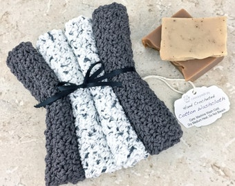 Grey White Washcloth Cotton Spa Set Crocheted Washcloth Set Dish Cloths White Gray Crochet Bath Set Knit Washrag Cotton Facecloth Gift Set