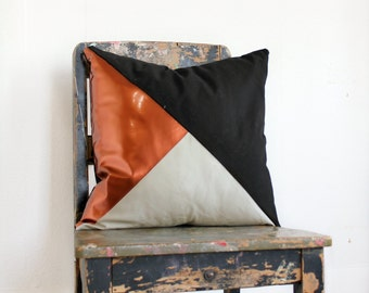 Geometric Black, Stone & Metallic Copper Pillow Cover, Gorgeous home decor Black and Metallic copper cushion cover. Throw Pillows Cushions