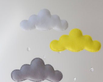 Grey, Yellow, White Felt Cloud Nursery Baby Mobile Raindrops Apricot Coral Melon
